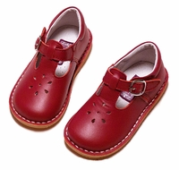 L'Amour Girls Joy Leather T-Strap Mary Jane Shoes - Red