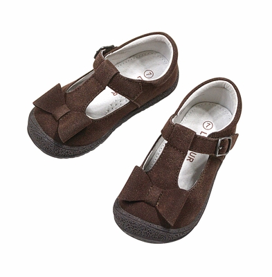 L'Amour Girls Mary Janes Shoes with Bow - Brown