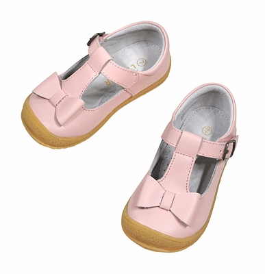 L'Amour Girls Mary Janes Shoes with Bow - Pink