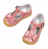L'Amour Girls Mary Janes Shoes with Bow - Rose Guava
