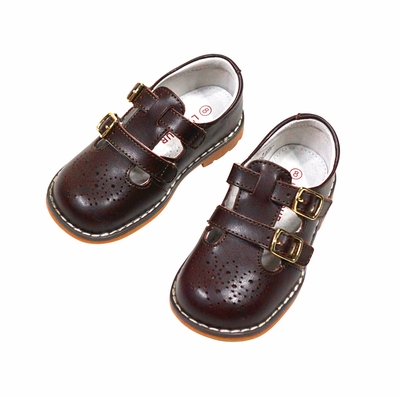 L'Amour Girls Perforated Leather Shoes - Double Velcro Strap - Brown