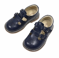 L'Amour Girls Perforated Leather Shoes - Double Velcro Strap - Navy Blue