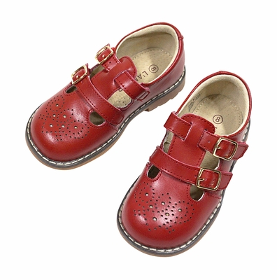 L'Amour Girls Perforated Leather Shoes - Double Velcro Strap - Red