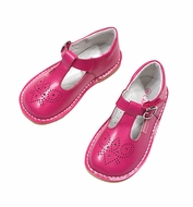 L'Amour Girls Perforated Leather T-Strap Mary Janes Shoes - Fuchsia Hot Pink