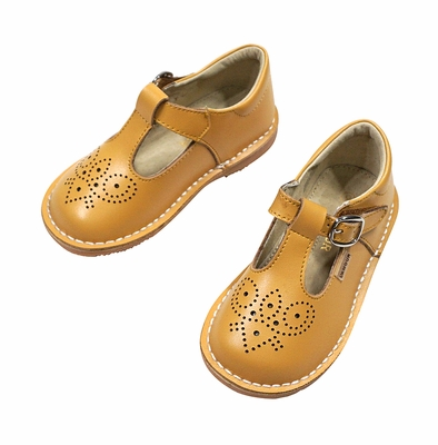 L'Amour Girls Perforated Leather T-Strap Mary Janes Shoes - Mustard