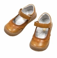 L'Amour Girls Ruffle Mary Janes Shoes - Old Gold