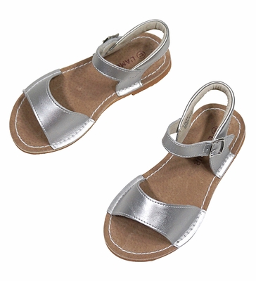 L'Amour Girls Shoes - Stitch Down Sandals - Silver