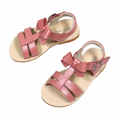 L'Amour Girls Shoes - Strap Sandals with Bow - Pink Guava Shimmer