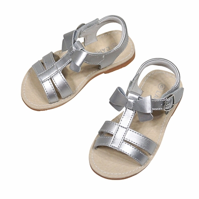 L'Amour Girls Shoes - Strap Sandals with Bow - Silver