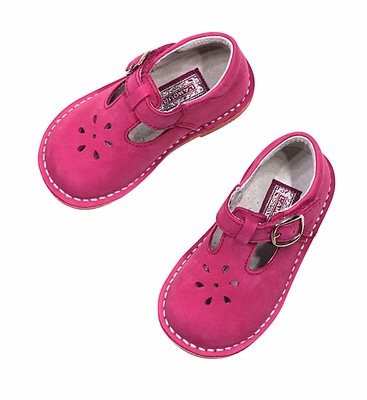 L'Amour Girls Joy T-Strap Shoes - Fuchsia Hot Pink - Nubuck Suede