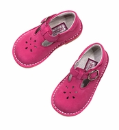 L'Amour Girls T-Strap Shoes - Fuchsia Hot Pink - Nubuck Suede