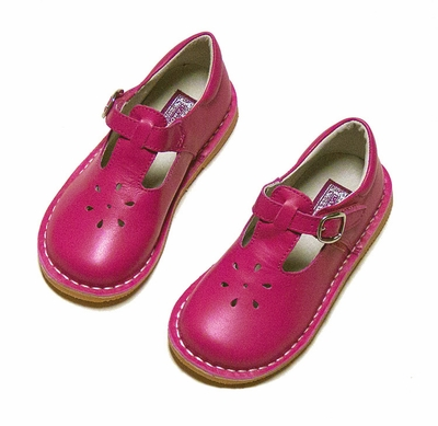 L'Amour Girls T-Strap Shoes - Fuchsia Pink - Kid Leather