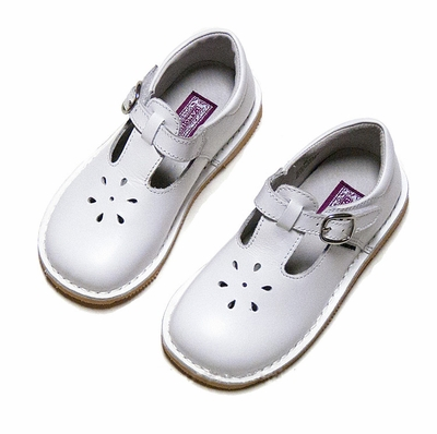 L'Amour Girls Joy T-Strap Shoes - Kid Leather White