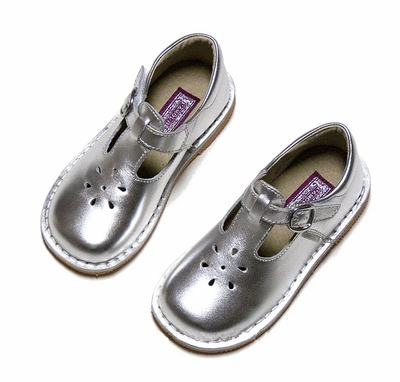 L'Amour Girls Joy T-Strap Shoes - Patent Leather Silver