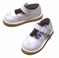 L'Amour Girls White Leather Classic Mary Janes Shoes with Velcro Closure