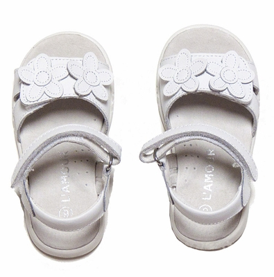 L'Amour Girls White Leather Velcro Strap Flower Sandals