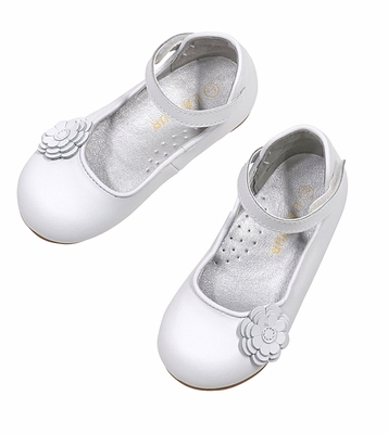 L'Amour Girls White Mary Janes Shoes - High Back - Flower Detail
