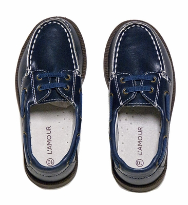 L'Amour Little Boys Leather Lace Up Boat / Deck Shoes - Navy Blue
