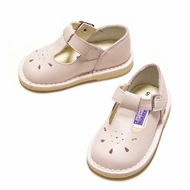 L'Amour Pink Leather T-Strap Shoes for Girls