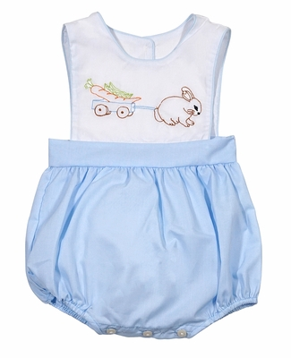 LaJenn's Mary Mary Baby Boys Blue Bubble - Shadow Stitch Embroidered Easter Bunny