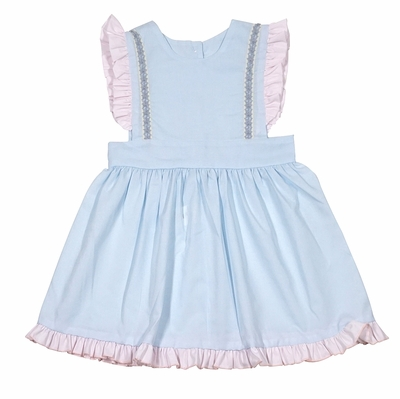 LaJenn's Mary Mary Baby Girls Blue Pinafore Dress with Pink Ruffles