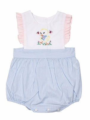 LaJenn's Mary Mary Baby Girls Blue Stripe Bubble - Pink Ruffle - Vintage Duck Embroidery