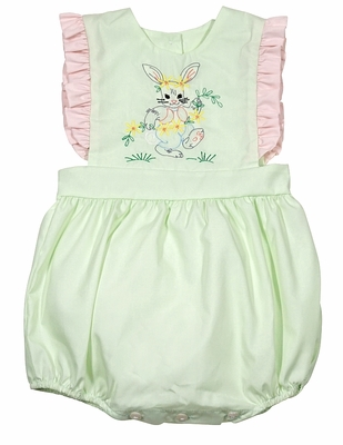 LaJenn's Mary Mary Baby Girls Green Bubble with Pink Trim - Embroidered Easter Bunny