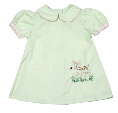 LaJenn's Mary Mary Baby / Toddler Girls Green Dress - Vintage Deer Bambi Fawn Embroidery
