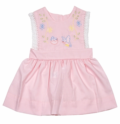 LaJenn's Mary Mary Baby Girls Pink Pinafore Dress - Vintage Bird Embroidery