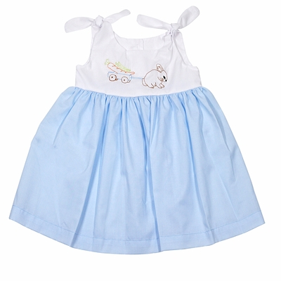 LaJenn's Mary Mary Baby / Toddler Girls Blue Dress with Ties - Shadow Stitch Embroidered Easter Bunny