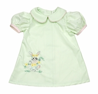 LaJenn's Mary Mary Baby / Toddler Girls Green Dress - Vintage Easter Bunny Embroidery