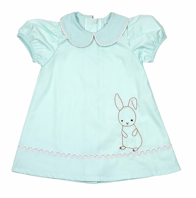 LaJenn's Mary Mary Baby / Toddler Girls Mint Green Shadow Stitch Embroidery Easter Bunny Dress