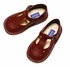LAmour Leather Classic T-Strap Shoes for Girls - Burgundy Red