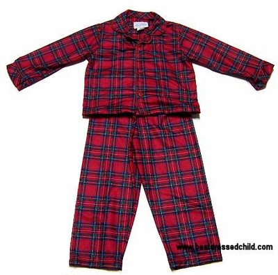 52fdce876156 Lanz of Salzburg Classic Boys Red Holiday Plaid Christmas PJs