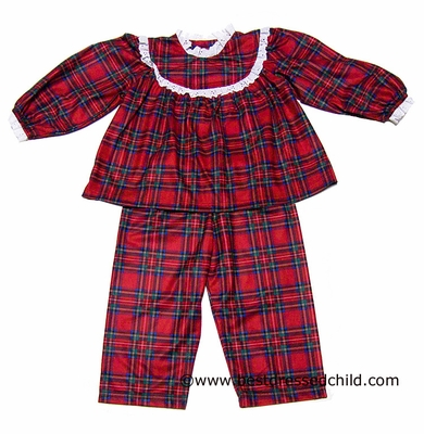1892ecf49330 Lanz of Salzburg Girls Red Christmas Holiday Plaid Pajamas
