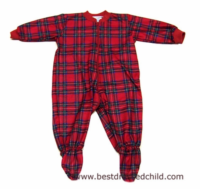 Lanz of Salzburg Infant Baby Boys Red Christmas Plaid Footed Footy Pajamas