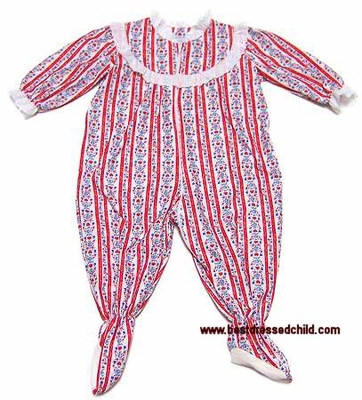 Lanz of Salzburg Infant / Toddler Girls Red Tyrolean Rhumba Pajamas