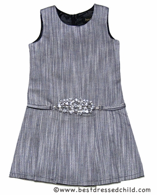 Laundry by Shelli Segal Girls Faith Silver Grey Tweed Dress with Bling Belt