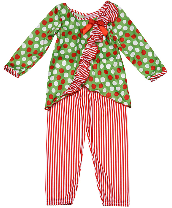 Laura Dare Girls Christmas Holiday Vertical Ruffle Pajamas - Green ...