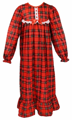 Laura Dare / New ICM Girls Classic Red Christmas Plaid Holiday Nightgown