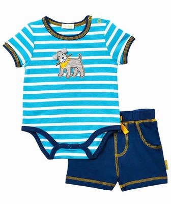 Le Top Baby Boys Blue Striped Fetch Dog Bodysuit With