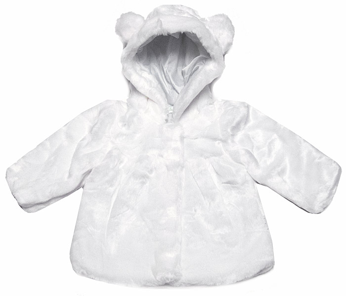 Le Top Baby Girls Hooded White Faux Fur Jacket / Coat with Ears