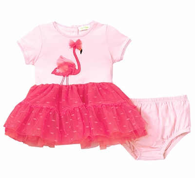 Le Top Baby Girls Pink Flamingo Fancy Tiered Tulle Dress With Bloomers