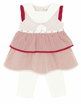 Le Top Baby Girls Red / White Stripes / Dots Sailor Dress with White Leggings