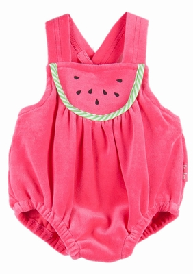 Le Top Baby Girls Watermelon Red Velour Novelty Sunsuit Bubble