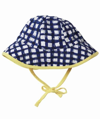 Le Top Baby   Toddler Girls Navy Blue Gingham Sun Hat with Yellow Ties 9072565921c