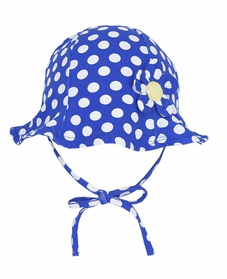 Le Top Girls Blue / White Polka Dots Ruffle Daisy Sun Hat with Ties