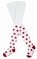 Le Top Girls Tights - White with Red Polka Dots