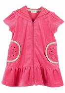 Le Top Girls Watermelon Red Velour Zip Front Dress / Cover Up with Hood