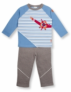 Le Top Infant / Toddler Boys Blue Striped Airplane Shirt with Brown French Terry Pants